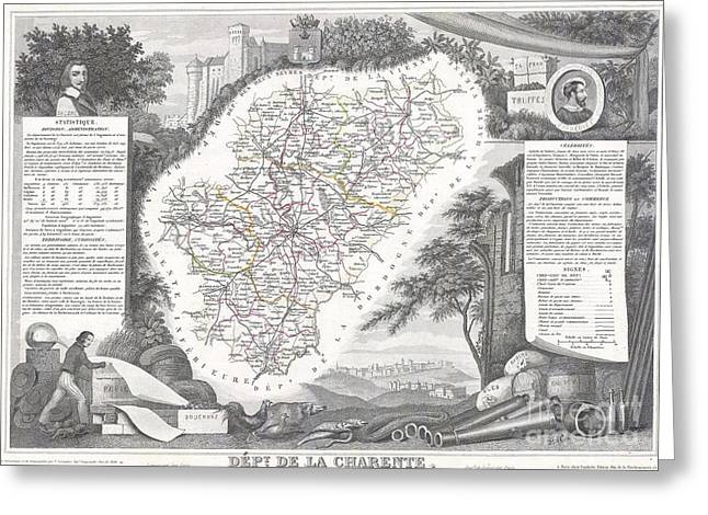 De Wine And Cheese Greeting Cards - 1847 Levasseur Map of Dept del la Charente France Greeting Card by Paul Fearn