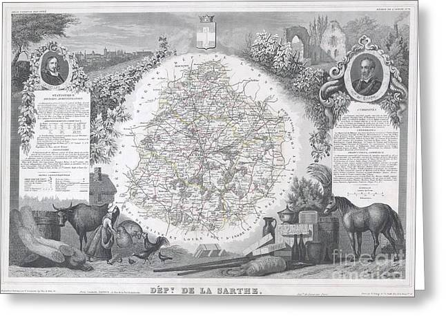 Wine Growing Illustrations Greeting Cards - 1847 Levasseur Map of Sarthe France Greeting Card by Paul Fearn