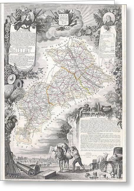 De Wine And Cheese Greeting Cards - 1847 Levasseur Map of the Dept de la Haute Garonne France Greeting Card by Paul Fearn