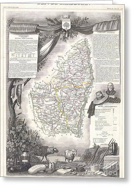 De Wine And Cheese Greeting Cards - 1847 Levasseur Map of the Dept de LArdeche France Greeting Card by Paul Fearn