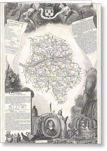 De Wine And Cheese Greeting Cards - 1847 Levasseur Map of the Dept DIndre et Loire France Greeting Card by Paul Fearn