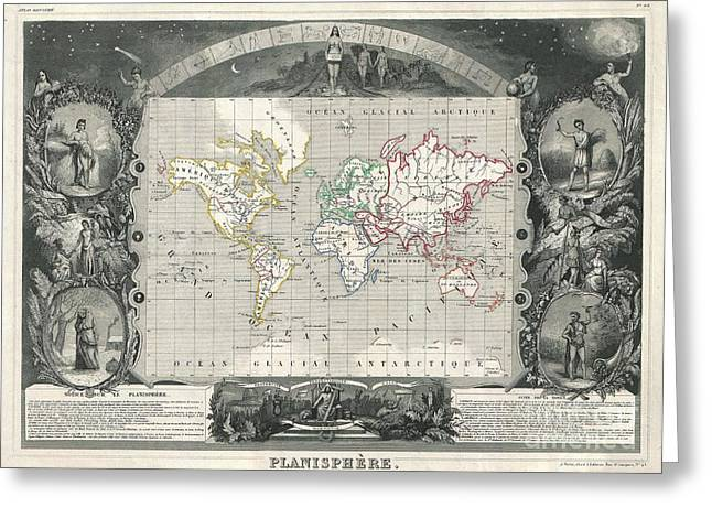 Figure Based Greeting Cards - 1847 Levasseur Map of the World Greeting Card by Paul Fearn