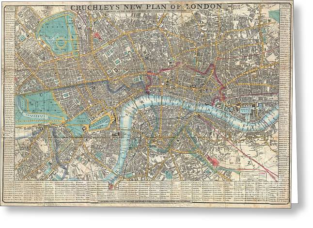 1848 Crutchley Pocket Map Or Plan Of London Greeting Card by Paul Fearn