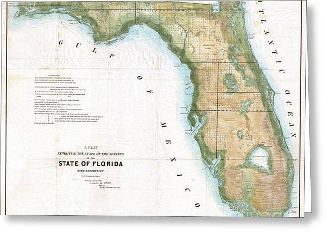 Correspond With Greeting Cards - 1848 Land Survey Map of Florida Greeting Card by Paul Fearn