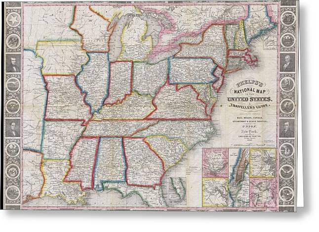 16-year-old Greeting Cards - 1848 Phelps National Map of the United States Greeting Card by Paul Fearn