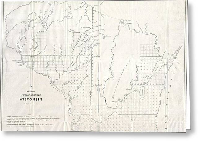 Geographic Location Greeting Cards - 1848 Public Survey Map of Wisconsin Greeting Card by Paul Fearn