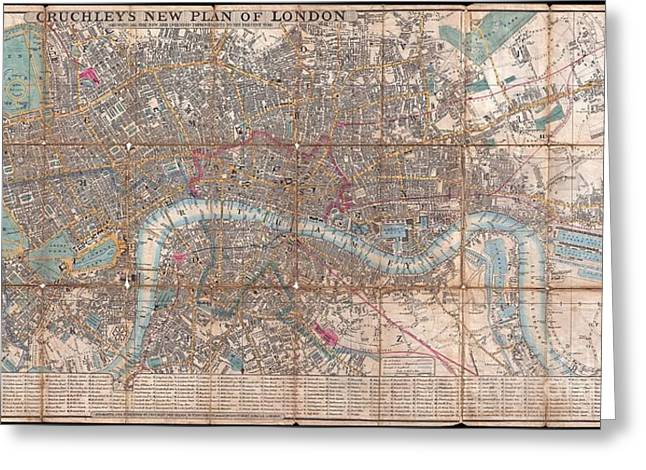 Public Issue Greeting Cards - 1849 Cruchley Pocket Map of London Greeting Card by Paul Fearn