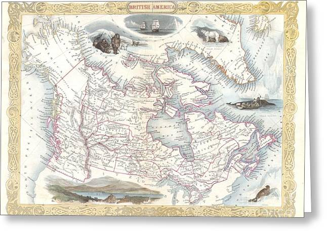 Treaty Of London Greeting Cards - 1849 Tallis Map of Canada or British America Greeting Card by Paul Fearn