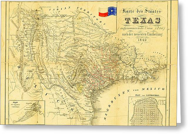 1849 Greeting Cards - 1849 Texas Map Greeting Card by Digital Reproductions