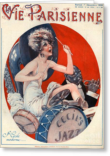 African-american Drawings Greeting Cards - 1920s France La Vie Parisienne Magazine Greeting Card by The Advertising Archives