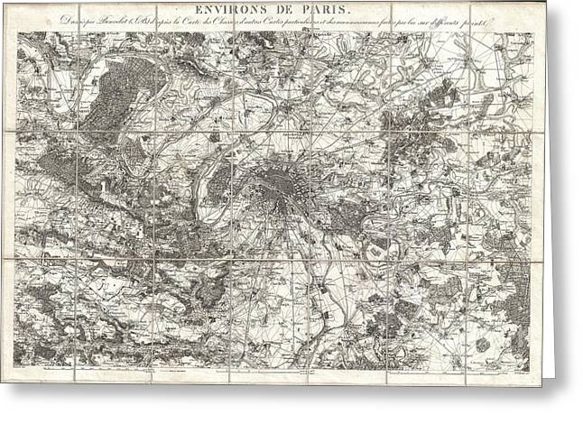 Northwest Garden Show Greeting Cards - 1850 Andriveau Goujon Map of Paris and Environs  Greeting Card by Paul Fearn