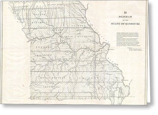 Label Greeting Cards - 1850 Land Survey Map of Missouri Greeting Card by Paul Fearn