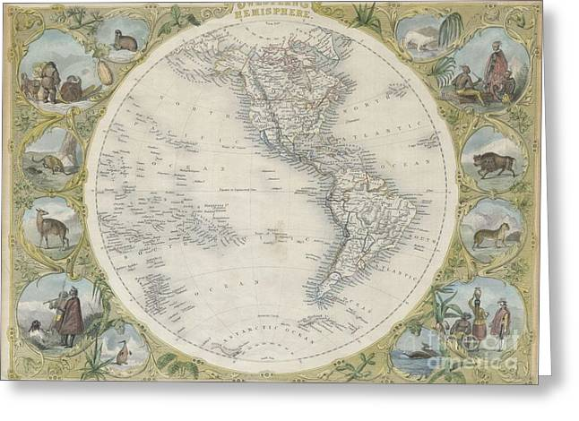 H Drew Greeting Cards - 1850 Tallis Map of the Western Hemisphere Greeting Card by Paul Fearn