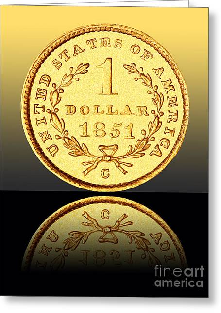 Coin Pictures Greeting Cards - 1851 1 Dollar Rare Charlotte Gold Greeting Card by Jim Carrell