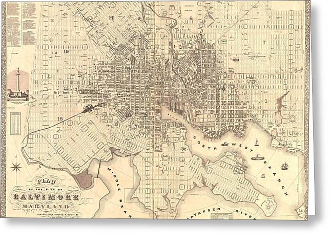 Geography Mixed Media Greeting Cards - 1851 Baltimore Maryland Map Greeting Card by Dan Sproul