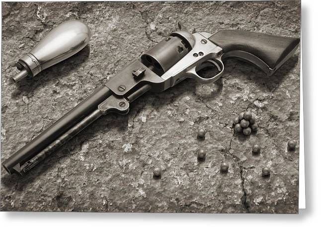Handgun Greeting Cards - 1851 Navy Revolver 36 Caliber - 2 Greeting Card by Mike McGlothlen