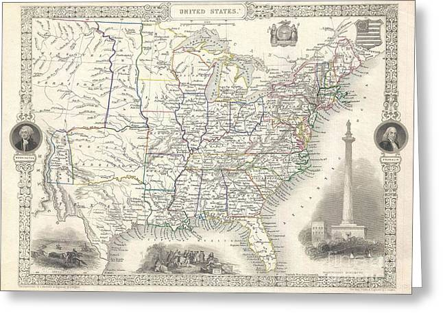 Advocacy Greeting Cards - 1851 Tallis and Rapkin Map of the United States Greeting Card by Paul Fearn