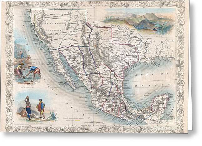 H Drew Greeting Cards - 1851 Tallis Map of Mexico Texas and California  Greeting Card by Paul Fearn