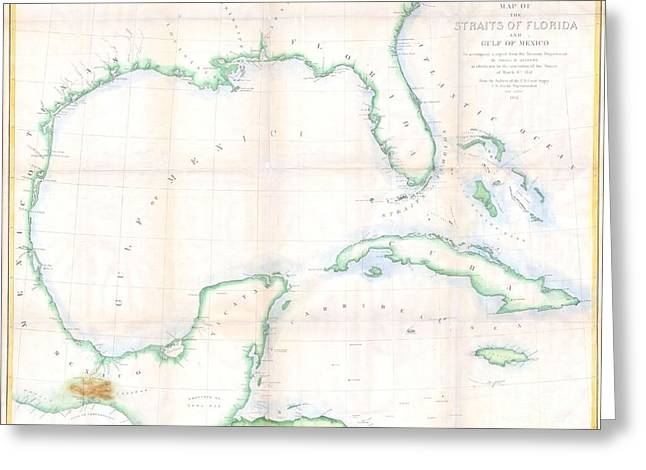 Design Principle Greeting Cards - 1852 Andrews Map of Florida Cuba and the Gulf of Mexico Greeting Card by Paul Fearn