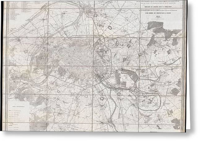 Old Roadway Greeting Cards - 1852 Andriveau Goujon Map of Paris and Environs Greeting Card by Paul Fearn