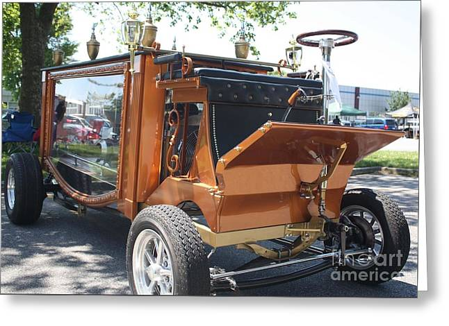 Engraving Greeting Cards - 1852 Cunningham Hearse with 383 Chevy Stroker Engine Greeting Card by John Telfer