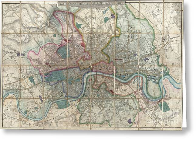New To Vintage Greeting Cards - 1852 Davies Case Map or Pocket Map of London Greeting Card by Paul Fearn