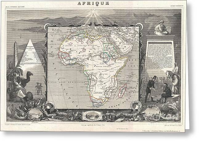 La Vague Greeting Cards - 1852 Levasseur Map of Africa Greeting Card by Paul Fearn