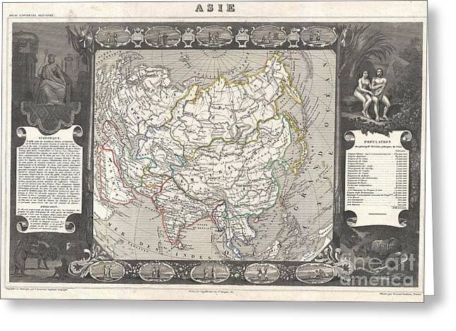 Many Sides Of A Woman Greeting Cards - 1852 Levasseur Map of Asia Greeting Card by Paul Fearn