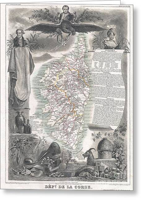 Being Given Greeting Cards - 1852 Levasseur Map of Corsica  Greeting Card by Paul Fearn