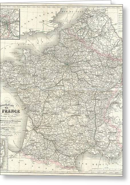 Old Roadway Greeting Cards - 1852 Levasseur Map of France  Greeting Card by Paul Fearn