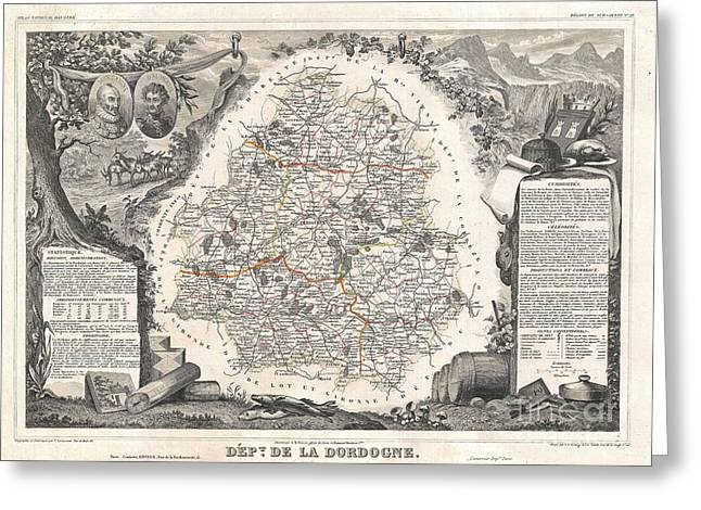 De Wine And Cheese Greeting Cards - 1852 Levasseur Map of the Department de La Dordogne Greeting Card by Paul Fearn