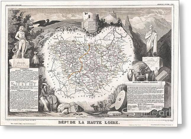 Wine Growing Illustrations Greeting Cards - 1852 Levasseur Map of the Department De La Haute Loire France Loire Valley Region Greeting Card by Paul Fearn