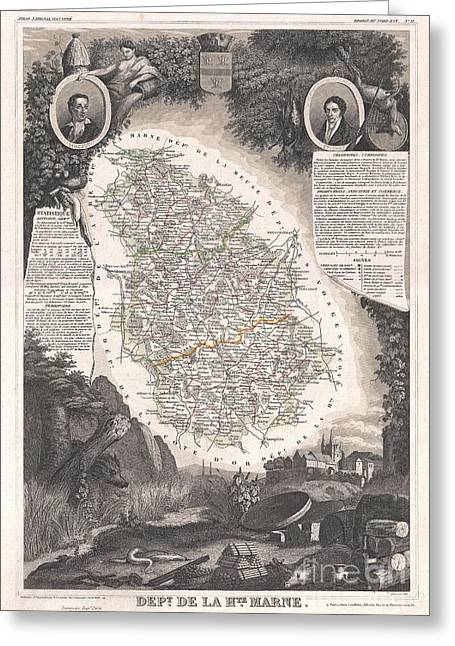 De Wine And Cheese Greeting Cards - 1852 Levasseur Map of the Department De La Haute Marne France Champagne Wine Region Greeting Card by Paul Fearn