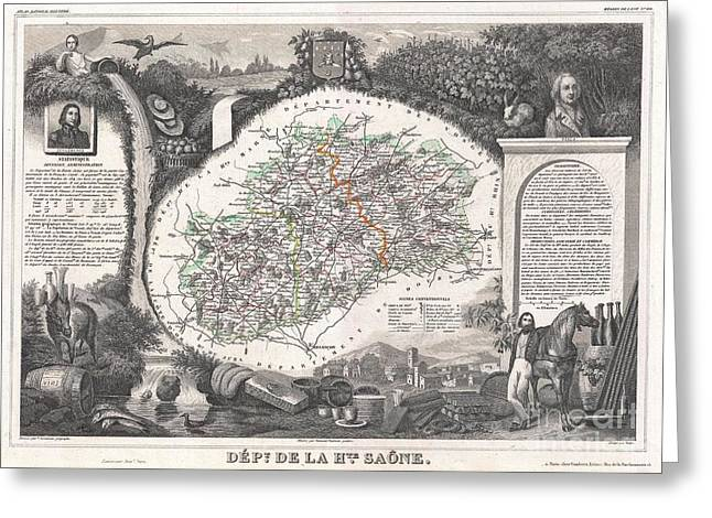 De Wine And Cheese Greeting Cards - 1852 Levasseur Map of the Department De La Haute Saone France Burgundy or Bourgogne Wine Region Greeting Card by Paul Fearn