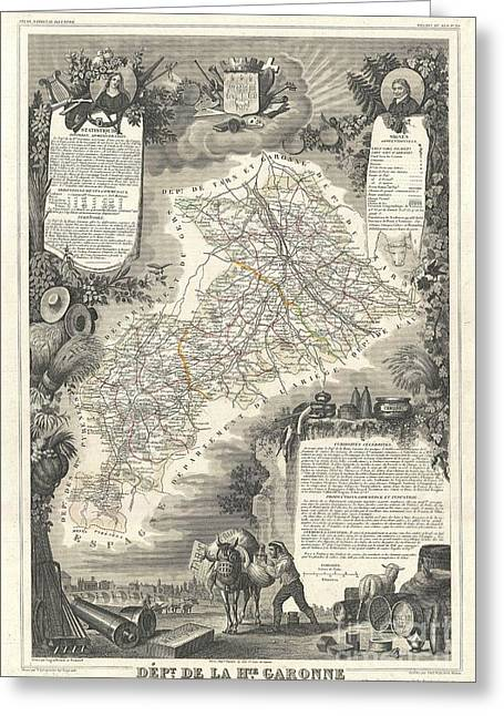 De Wine And Cheese Greeting Cards - 1852 Levasseur Map of the Department de La Hautes Garonne France Buzet Wine Region Greeting Card by Paul Fearn