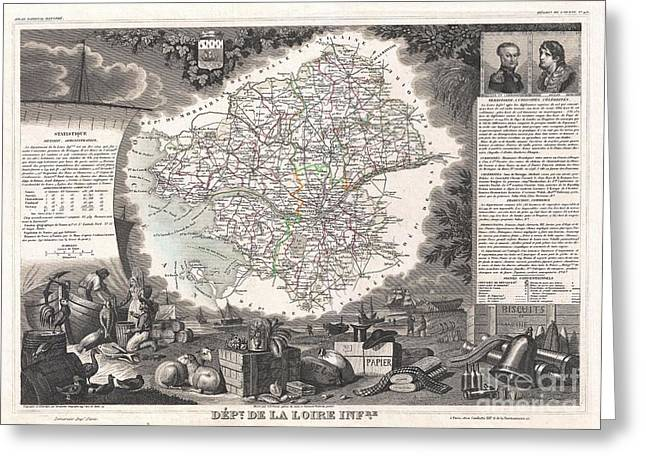 De Wine And Cheese Greeting Cards - 1852 Levasseur Map of the Department De La Loire Inferieure France Muscadet Wine Region Greeting Card by Paul Fearn