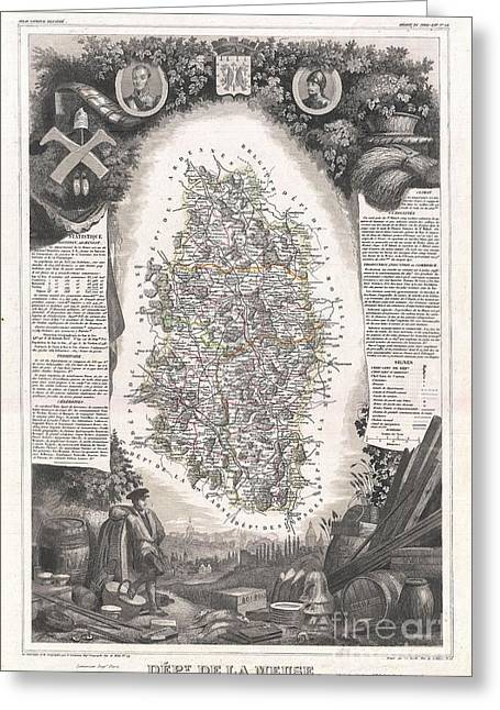 De Wine And Cheese Greeting Cards - 1852 Levasseur Map of the Department De La Meuse France Brie Cheese Region Greeting Card by Paul Fearn