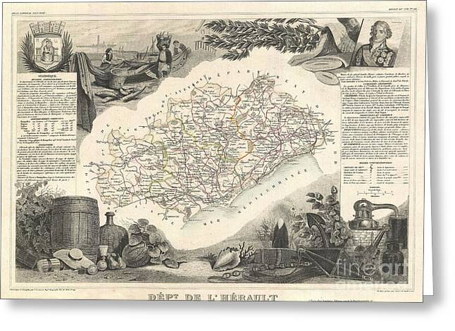 Wine Growing Illustrations Greeting Cards - 1852 Levasseur Map of the Department de LHerault France Greeting Card by Paul Fearn