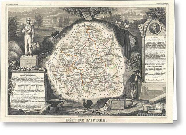 De Wine And Cheese Greeting Cards - 1852 Levasseur Map of the Department de LIndre France Greeting Card by Paul Fearn