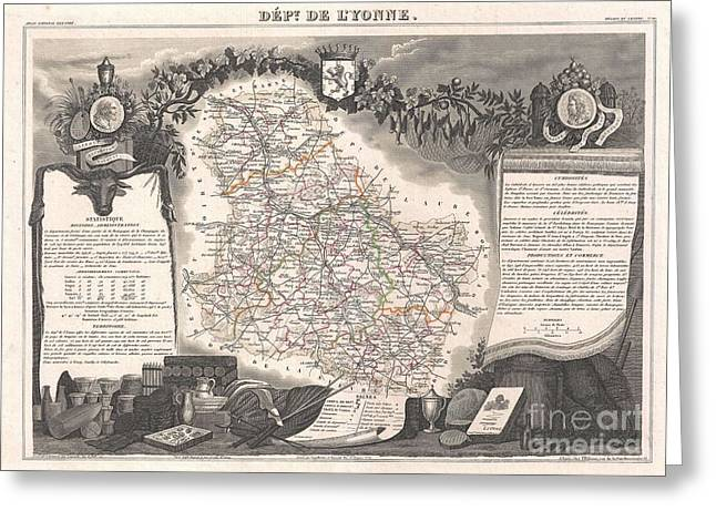De Wine And Cheese Greeting Cards - 1852 Levasseur Map of the Department De LYonne  Greeting Card by Paul Fearn