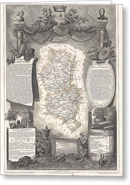 Beaujolais Greeting Cards - 1852 Levasseur Map of the Department Du Rhone France  Beaujolais Wine Region Greeting Card by Paul Fearn