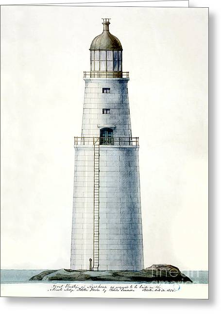 Historic Lighthouses Greeting Cards - 1852 Minots Ledge Lighthouse  Greeting Card by Jon Neidert