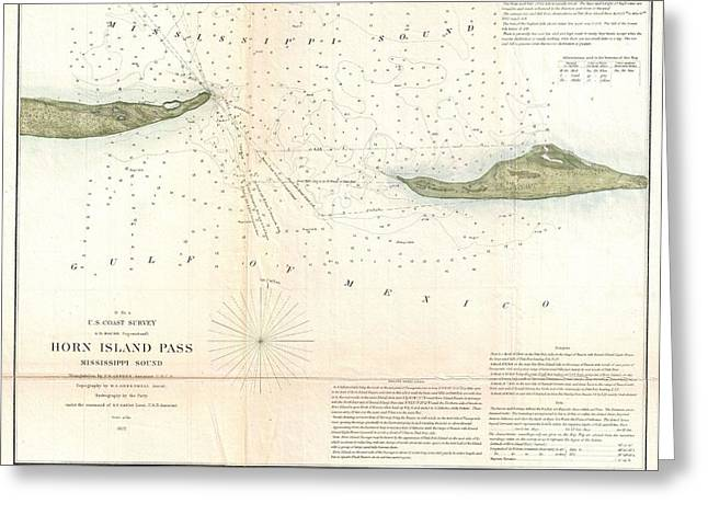 Between The Two Greeting Cards - 1852 US Coast Survey Map of Horn Island Pass Mississippi Sound  Greeting Card by Paul Fearn