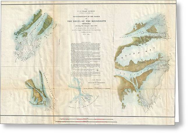 Map Of The Hand Greeting Cards - 1852 US Coast Survey Map of the Mississippi River Delta Greeting Card by Paul Fearn