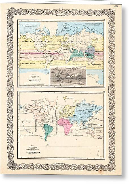 Cultivation Greeting Cards - 1855 Antique World Maps Illustrating Principal Features of Meteorology Rain and Principal Plants Greeting Card by Karon Melillo DeVega