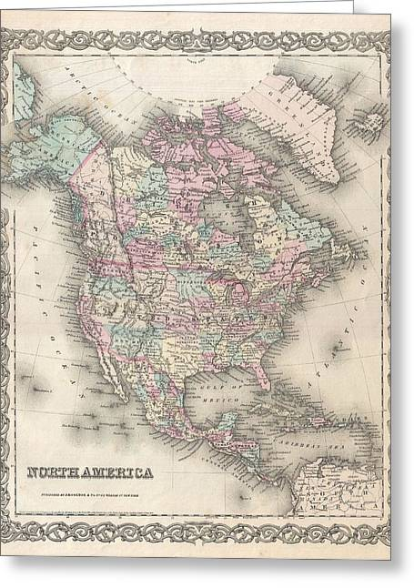 Vintage Greeting Cards - 1855 Colton Map of North America Greeting Card by Paul Fearn