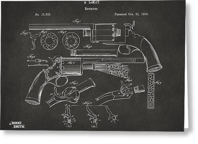 Grey Fine Art Greeting Cards - 1856 LeMat Revolver Patent Artwork - Gray Greeting Card by Nikki Marie Smith