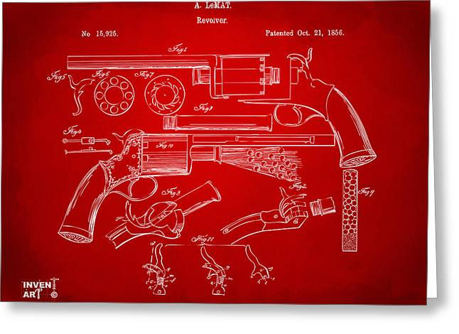 Red White And Blue Prints Greeting Cards - 1856 LeMat Revolver Patent Artwork Red Greeting Card by Nikki Marie Smith