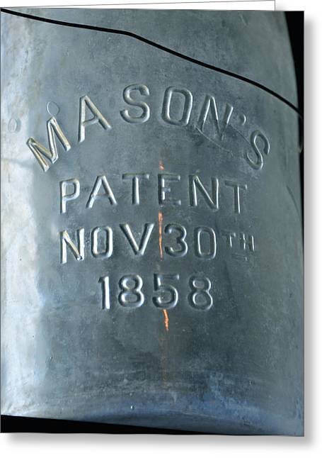 Mason Jars Greeting Cards - 1858 Masons Jar Greeting Card by David Lee Thompson