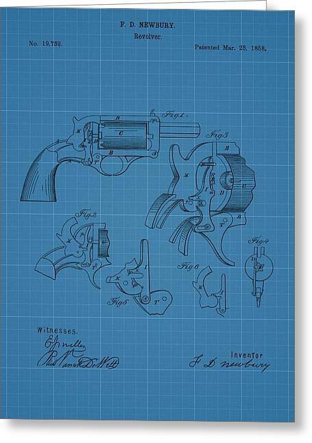 Pull Drawings Greeting Cards - 1858 Revolver Blueprint Patent Greeting Card by Dan Sproul